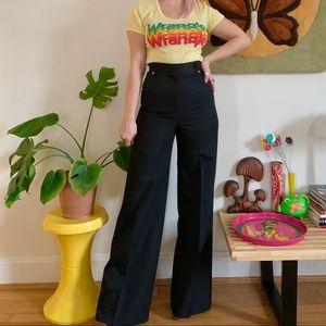 Vintage 70s black wide leg flared trousers 26x32